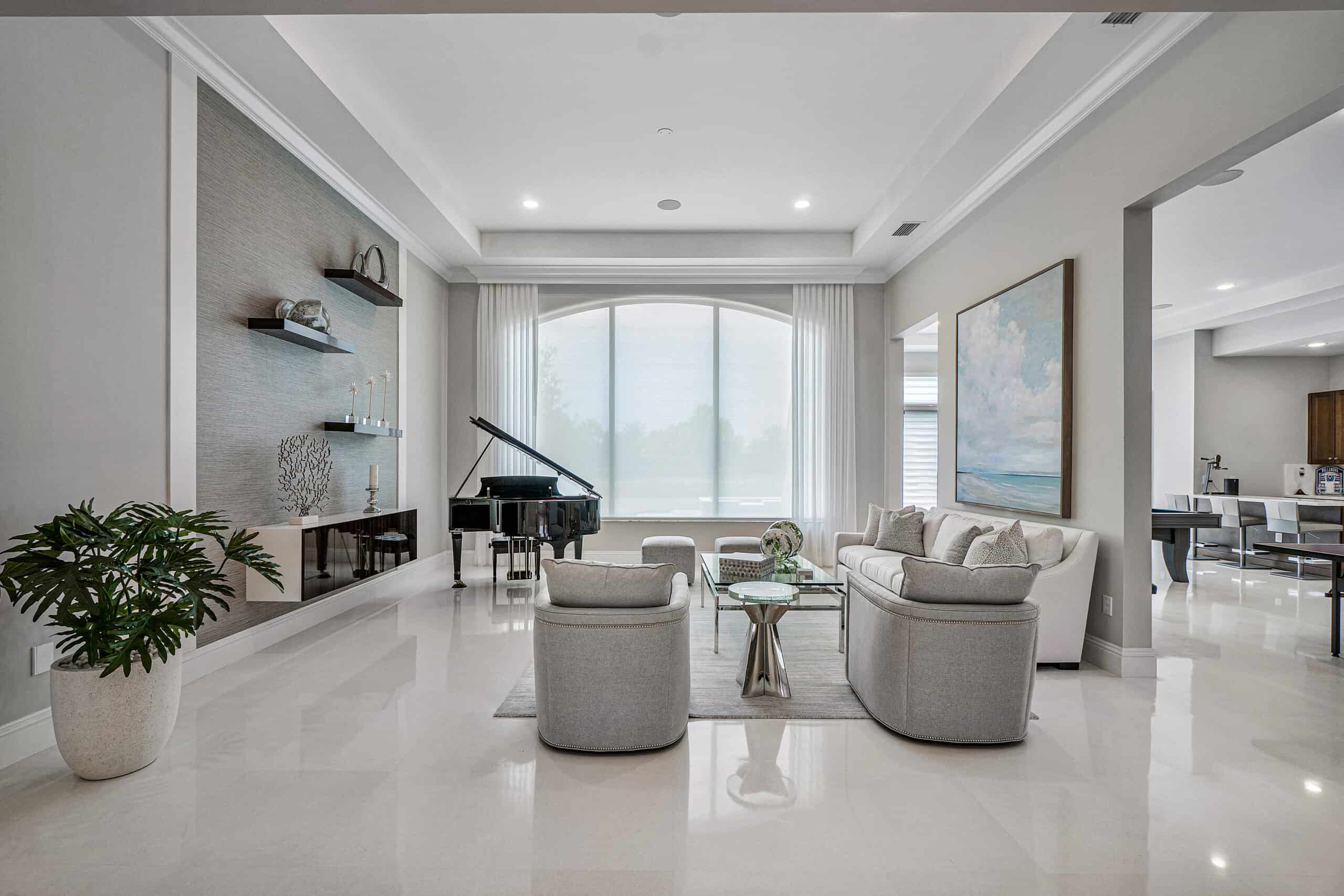 transitional living room designed by Interiors by Brown