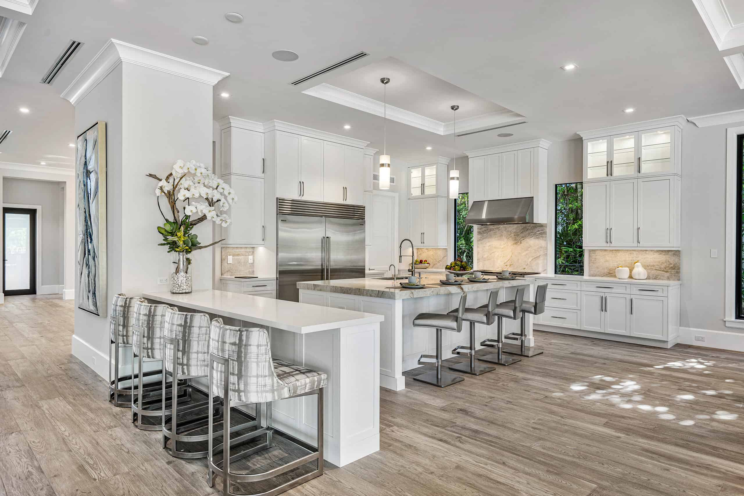 Contemporary kitchen design in Palm Beach County designed by Interiors by Brown